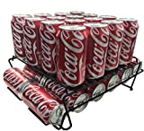 Stylish Sturdy Steel Can Beverage Dispenser Rack Organizer, Black (Dispenser +)