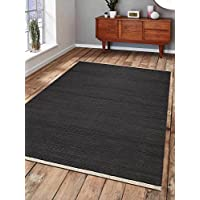 Rugsotic Carpets Hand Woven Kelim Woolen 6 x 9 Contemporary Area Rug Charcoal D00111 With Fringe