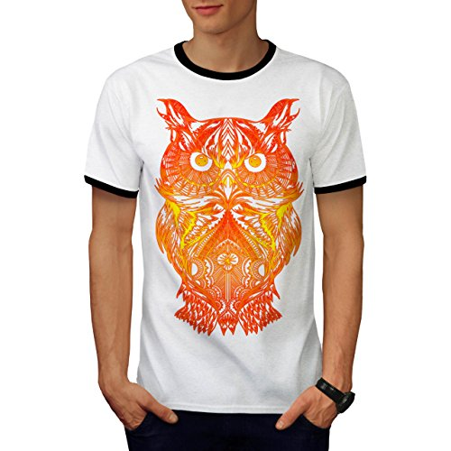 Night Owl On Fire Burning Bird Men M Ringer T-shirt | Wellcoda