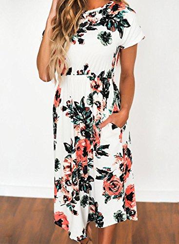 Azbro Mujer Midi Vestido Casual Mangas Cortas Estampado Floral Negro