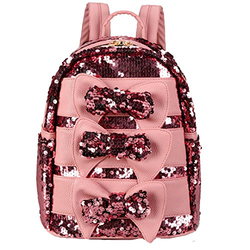 Felice Women Girls Cute Bling Sequins Backpack Daypack Kindergartner School Bag with Bowknot (pink)