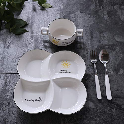 Creative meal plate fitness plate set breakfast plate snack grid plate black side sunshine four grid four sets of 9 inches
