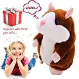 electronic animal toys - Talking Pet Hamster Electronic Animal Plush Toy - Mimics and Repeats After Words & Sounds - Special Gift for Kids Ages 4 - 100, Boys and Girls, Birthdays, Christmas by Neverland(Brown)