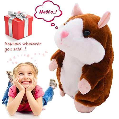 Talking Pet Hamster Electronic Animal Plush Toy - Mimics and Repeats After Words & Sounds - Special Gift for Kids Ages 4 - 100, Boys and Girls, Birthdays, Christmas by Neverland(Brown) New Pet Hamster