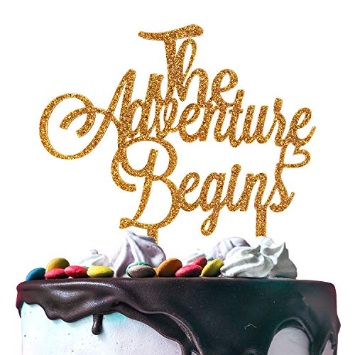 The Adventure Begin Gold Glitter Acrylic Cake Topper Travel Wedding Engagement Going Away Party Decoration. - 5.9'' x - Acrylic Away