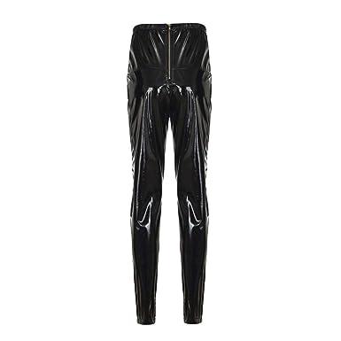 Mujeres PU Leggins Cuero Brillante Pantalón Elásticos Pantalones ...