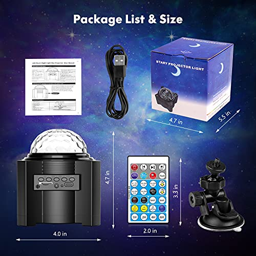 Star Projector, Ezire 4-in-1 Galaxy Night Light Projector with Solar System, Ocean Wave, Music Speaker, Remote Control for Bedroom Party Home, Timing Sky Light for Baby Kids Adults Gifts