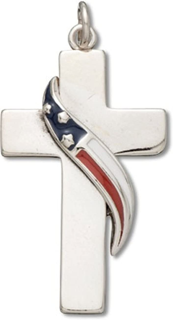 925 Sterling Silver Polished Enameled US Army Star Dog tag Charm Pendant