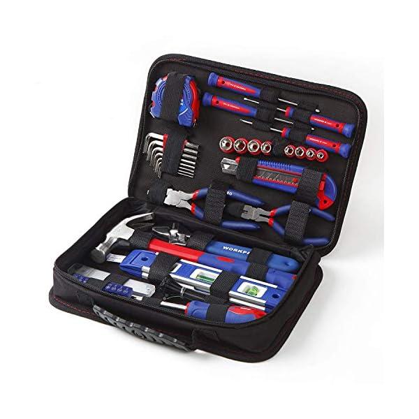 51hFuqXM0SL WORKPRO Werkzeugset Universal und Haushalts-Werkzeugkoffer 100-teilig Werkzeugsatz Mechaniker, perfekt für leichte…