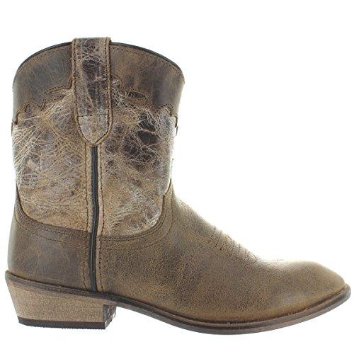 (Dingo Womens Cognac Fashion Boots Leather Cowboy Boots Round Toe 6.5 M)