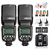 2 Pcs Godox Ving V860IIS 2.4G GN60 TTL HSS 1/8000s Li-on Battery Camera Flash Speedlite with X1T-S Wireless Flash Trigger for Sony - 1.5S Recycle Time 650 Full Power Pops Supports TTL/M/Multi/S1/S2