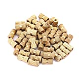 Insert Embedded Nuts, 50pcs M3 Brass Cylinder Knurled Round Molded-in Insert Embedded Nuts(7#)