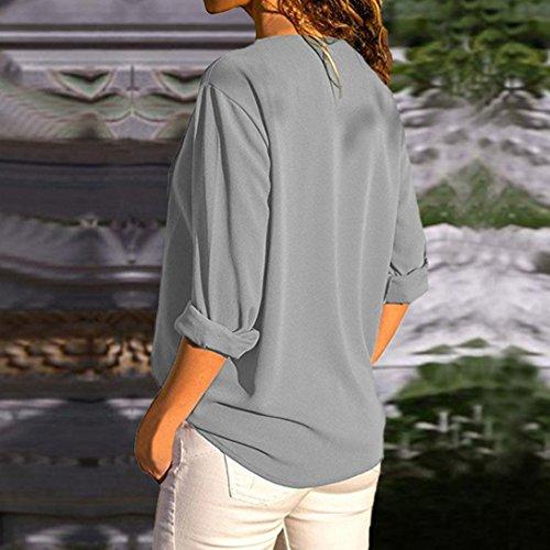 e lunghe con a maniche manica manica lunga maglia donna elegante lunga T lunga manica Elecenty scollo con V tondo shirt scollo da donna Grigio 6fwTqafxH