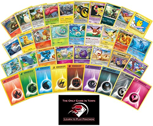 200 Pokemon Card Lot - 100 Pokemon Cards - 100 Energy Cards! Pokemon Beginner's Starter Set with Learn to Play Pokemon Instructions