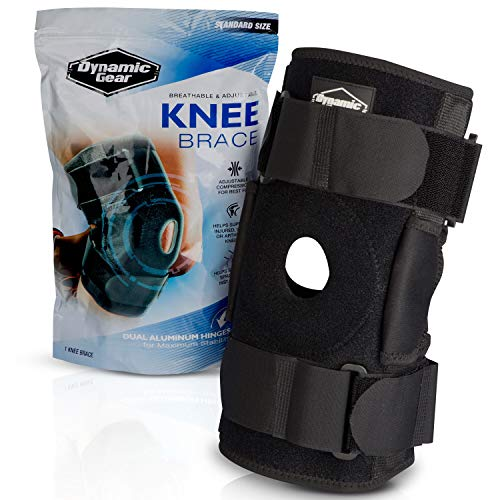 Dynamic Gear Open Patella Stabilizing Knee Brace with Dual Aluminum Stability Hinges - Padded Neoprene Adjustable Compression Knee Support Brace for Meniscus Tear, ACL, Strains, Knee Pain, Arthritis ()