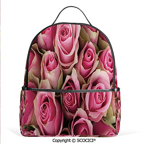 Bouquet Heart Bridal - Hot Sale Backpack outdoor travel Blooming Fresh Pink Roses Festive Bridal Bouquet Romance Sweetheart Valentine Decorative,Pink Pale Green,With Water Bottle Pockets