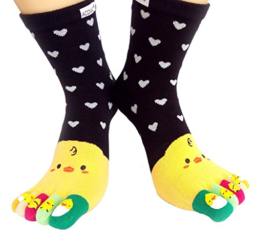 ACDIAC Winter Women/Girl Toe socks Funky Love small yellow chicken printing cotton Long sock-black