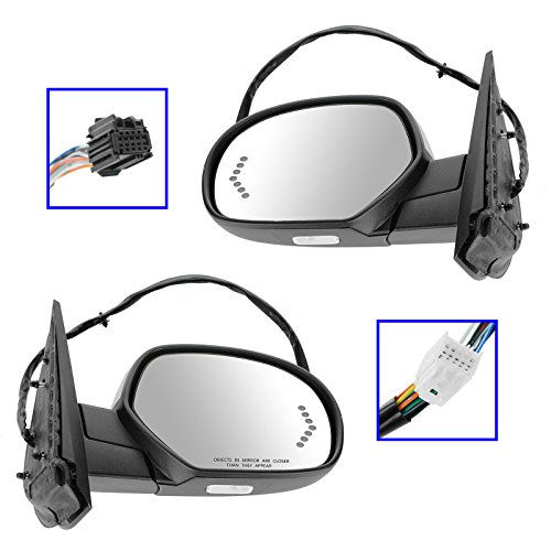 (Mirror Power Folding Heated Memory Puddle Signal Chrome Pair for GM Pickup SUV)