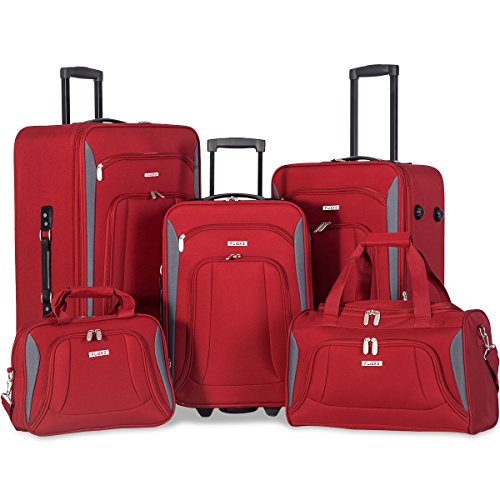 - Flieks 5 Piece Set Expandable Rolling Suitcase Softshell Deluxe Luggage Set (Red)