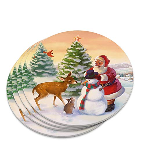 Christmas Holiday Santa and Animals Finishing Snowman Novelty Coaster Set