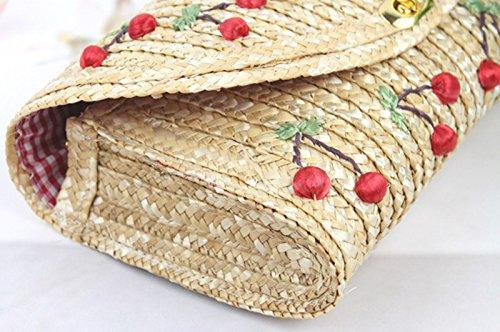 Carcasa para mujer Donalworld Tejido bordado Cherry Mini con plátano en pared de bandera de playa correa de saco de verano de Beige - beige