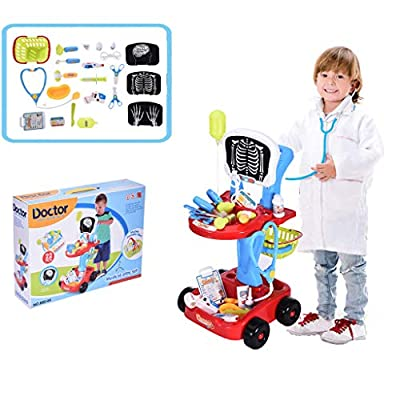 Kids Doctor Toy Kit, Toddler Toys Doctor Pretend Play Set, 3+ Years Old Boys and Girls Toys for Doctor Role Play with Electric Simulation Analog X-ray Screen and Stethoscope (Red): Automotive