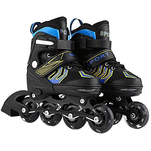 ANCHEER Girls Boys Inline Skates Adjustable for Kids Roller Skates Inline Skates for Women Men Urban Toddler Skating (Blue, US 5-8)