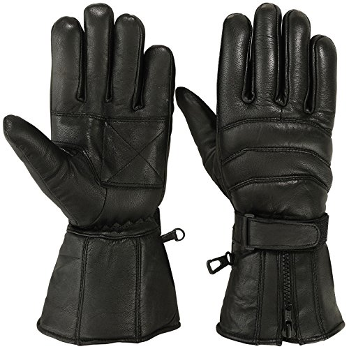 (Mens Motorbike Gloves Cold Weather Motorcycle Riding Glove Genuine Leather Black (XL))