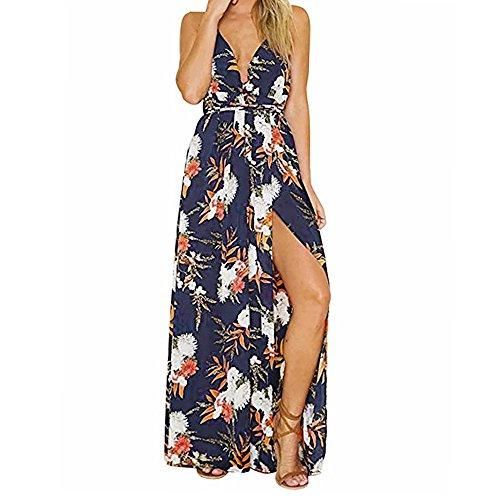 Women's Sundress, BOLUBILUY Sexy Long Evening Party Dress Flower Sleeveless Beach Dress Chiffon Halter Pencil Skirt (Furniture Roberts Discount)