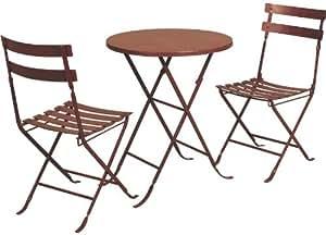 Salon pliant 3 pièces en métal laqué rouge