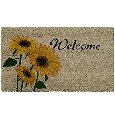 Rubber-Cal Sunflower Welcome Floral Door Mat, 18 by 30-Inch