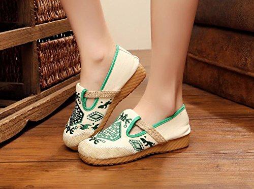 c¨®modo xiuhuaxie del Zapatos bordados ¨¦tnico aumento del tela de zapatos dentro femenina tend¨®n GuiXinWeiHeng green lenguado casual moda estilo wdqOfOgB