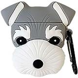 TOUBN Wireless Charging Earphone Case, Teens Girls Cute Cartoon Animals Schnauzer Dog Design Soft Silicone Full Body Protecti