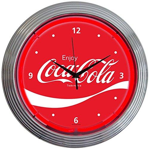Coke Neon Clock - Neonetics Drinks Coca Cola Wave Neon Wall Clock, 15-Inch