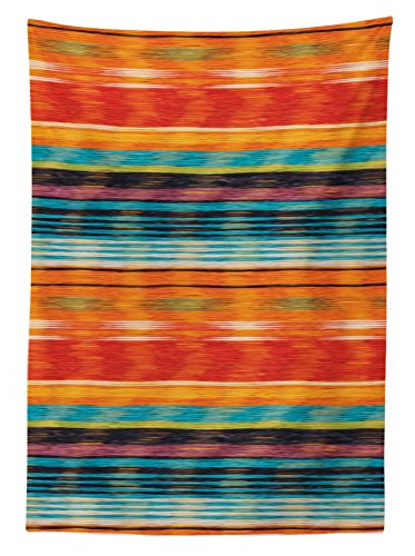 """Ambesonne Mexican Tablecloth, Abstract Vibrant Vintage Aztec Motif Gradient Blurred Lines Ecuador Crafts Image, Dining Room Kitchen Rectangular Table Cover, 60"""" X 84"""", Orange - 60 INCHES WIDE x 84 INCHES LONG - Made of lightweight silky satin fabric, hand-sewn finished edges MACHINE WASHABLE - Cold delicate cycle. Durable enough for both indoor and outdoor use. MADE FROM - High quality 100% polyester silky satin blend, Highly unique. Versatile. FUN. - tablecloths, kitchen-dining-room-table-linens, kitchen-dining-room - 51hFy 1vkRL -"""