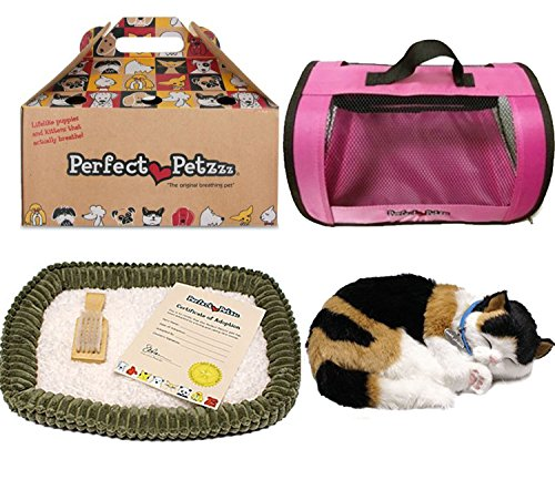 Perfect Petzzz Calico Cat Soft Toy with Pink Tote For Plush Breathing Pet