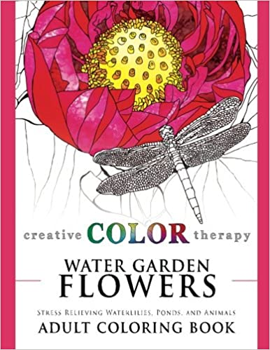 Coloring Pictures Of Animals And Flowers : Amazon.com: water garden flowers stress relieving waterlilies