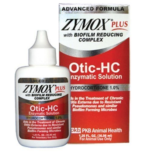 New ZYMOX PLUS OTIC-HC 1.25 fl. oz Hydrocortisone 1.0 % Dog Cat Ear Otitis