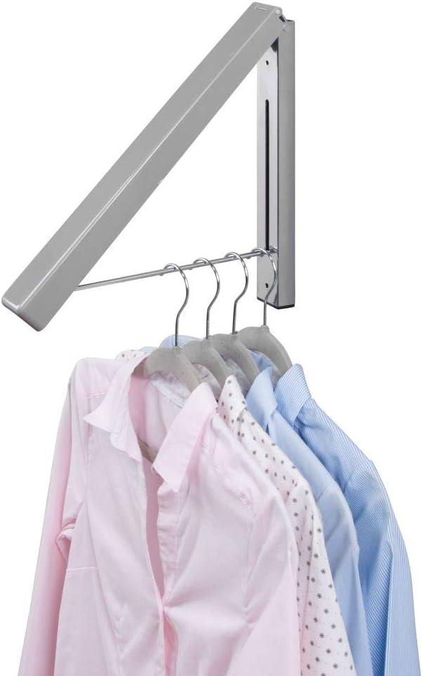 mDesign Colgador de ropa abatible para tendedero – Escuadra metálica para prendas que se van a enviar a la tintorería – Perchero de pared plegable con barra para colgar perchas de ropa – gris