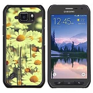 Cubierta protectora del caso de Shell Plástico || Samsung Galaxy S6 Active G890A || campo amarillo margarita margaritas de campo viñeta @XPTECH