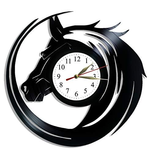 Horse Design - Animals Wall Art - Vinyl Record Clock - Horse Vinyl Clock - Modern Wall Clock - Horse Original Home Decor - Gift Lover Animal - Custom Wall Clock - Living Room Wall Decor - Office Decor