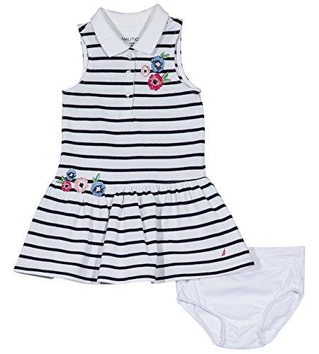 Nautica - Vestido casual, Bebitas ,  Floral Blanco, 24 meses