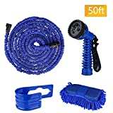 50 Feet Garden Hose, 50 Feet Expandable Water Hose Set, Extra Strong Stretch Material with Plastic Connectors, Double Latex Core, 7 Way Pattern Spray Nozzle