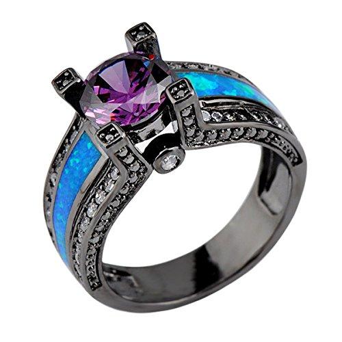 CHIC Amethyst Jewelry Ocean Blue Fire Opal Stonet Ring Pu...