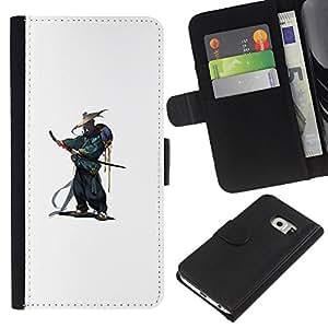 KLONGSHOP // Tirón de la caja Cartera de cuero con ranuras para tarjetas - Smurai japonés Katana Guerrero - Samsung Galaxy S6 EDGE //