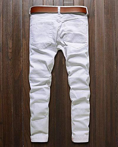 Biker Da Uomo Pantaloni Pants Zipper Casual Slim Denim Lanceyy Jeans Unita Tinta Semplice Strappato Stile Fit Stretch Bianca w15OExOt