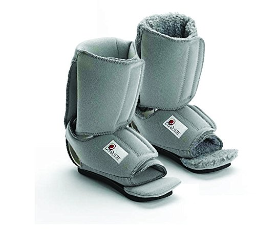 Coreline Ankle Contracture Boot- Soft Fleece liner- Indicated for drop foot, ankle contractures, heel ulcer prevention, and plantar fasciitis. Properly supports foot and ankle in bed and ambulation pad included. (Regular- Calf Circumference 16″ or less)