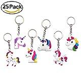 25 Pieces Magical Rainbow Unicorn Keychain Set for Birthday Wedding Party Favor Supplies