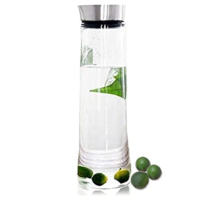 1,5 L Jarra agua botella, de cristal de borosilicato con tapa de acero inoxidable, para tea, helado, agua, leche, zumo, limonada y bebidas espumosas, ...