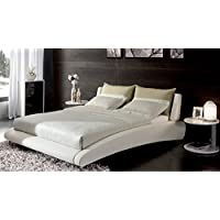 Cadillac Queen White Leather Platform Bed by Zuri Furniture